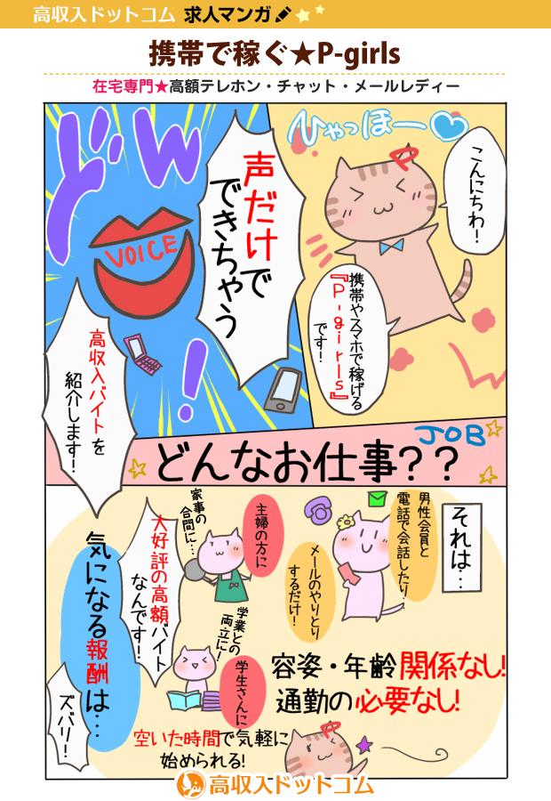 求人マンガ(携帯で稼ぐ★P-girls、大阪ほか、テレフォンレディ)の1枚目