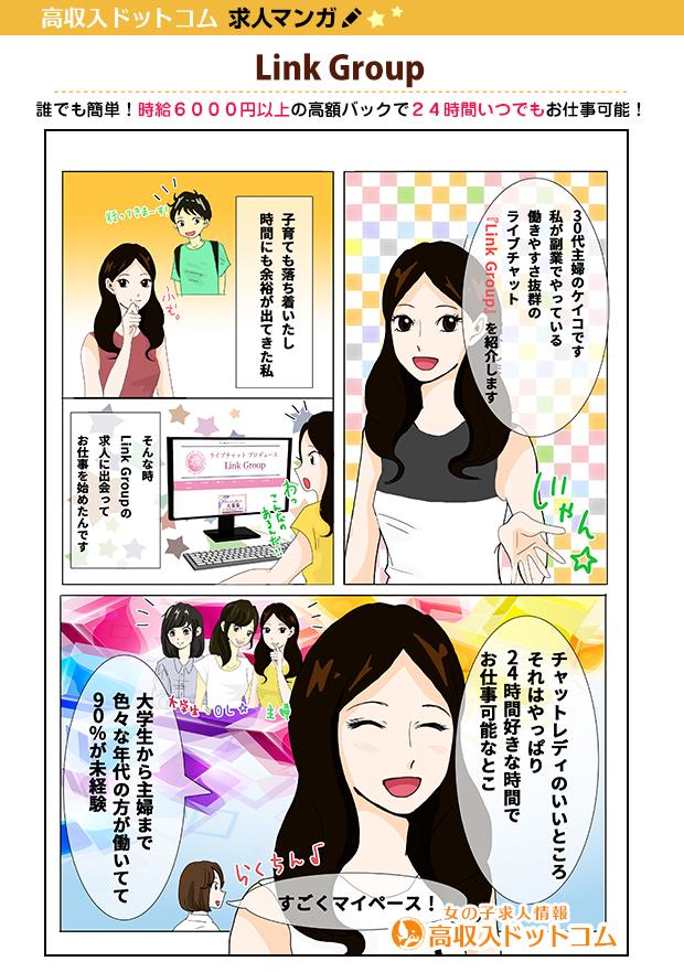 求人マンガ(Link Group、丸亀市、チャットレディ)の1枚目