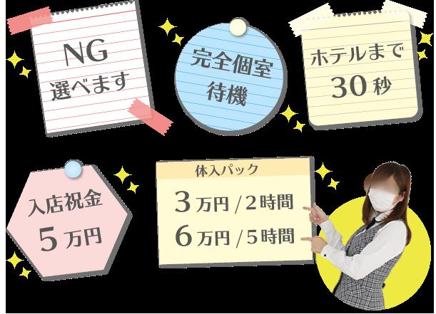 NG選べます・完全個室待機・ホテルまで30秒・入店祝金5万円・体入パック:3万円/2時間、6万円/5時間